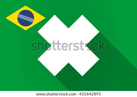 Illustration of a long shadow Brazil flag with an irritating substance sign - stock vector