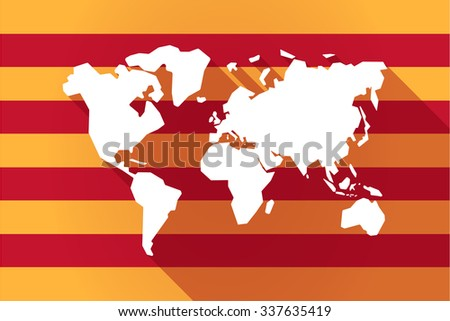 Illustration of a long shadow Catalonia vector flag with a world map - stock vector