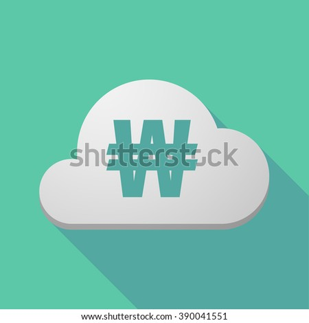 Illustration of a long shadow cloud icon with a won currency sign