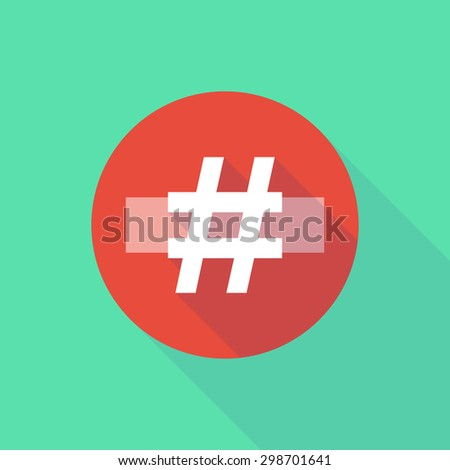Illustration of a long shadow do not enter icon with a hash tag - stock vector