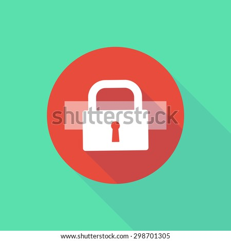 Illustration of a long shadow do not enter icon with a lock pad - stock vector
