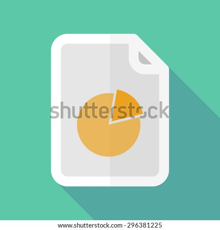 Illustration of a long shadow document icon with a pie chart - stock vector