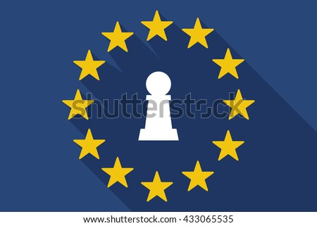 Illustration of a long shadow EU flag with a  pawn chess figure - stock vector