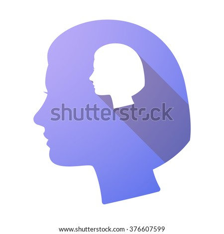 Illustration of a long shadow female head with a female head