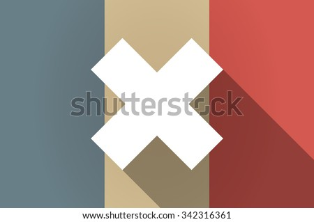 Illustration of a long shadow flag of France vector icon with an x sign - stock vector