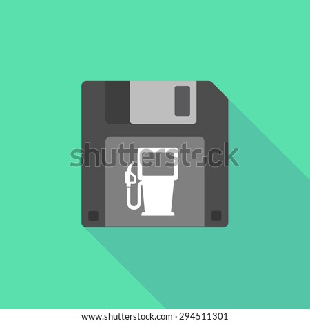 Illustration of a long shadow floppy icon with a gas station