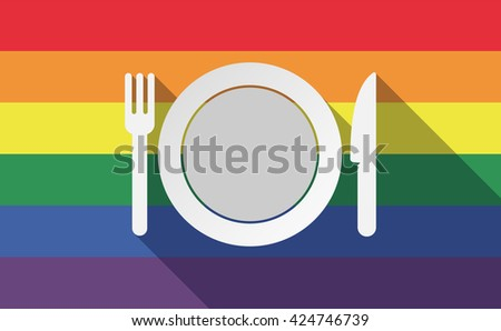 Illustration of a long shadow gay pride flag with  a dish, knife and a fork icon