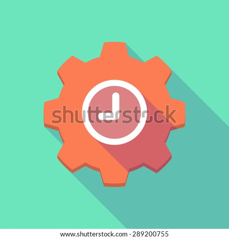 Illustration of a long shadow gear icon with a clock - stock vector