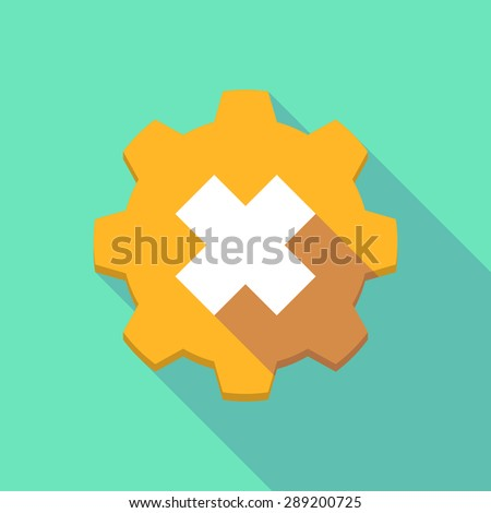Illustration of a long shadow gear icon with an irritating substance sign - stock vector