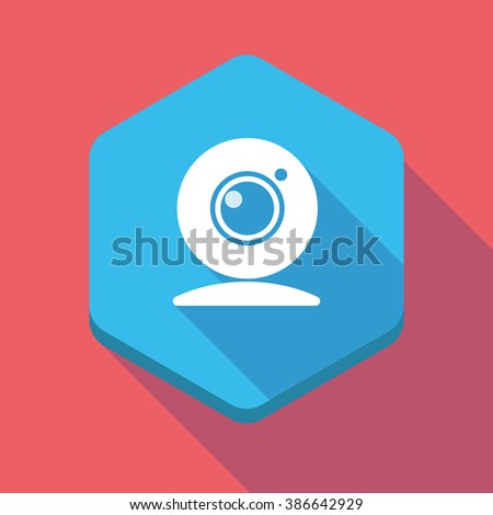 Illustration of a long shadow hexagon icon with a web cam