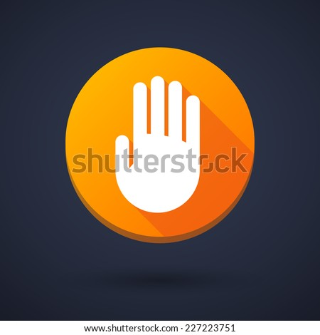 Illustration of a long shadow icon with a hand - stock vector