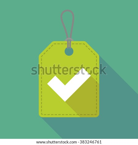 Illustration of a long shadow label icon with a check mark - stock vector