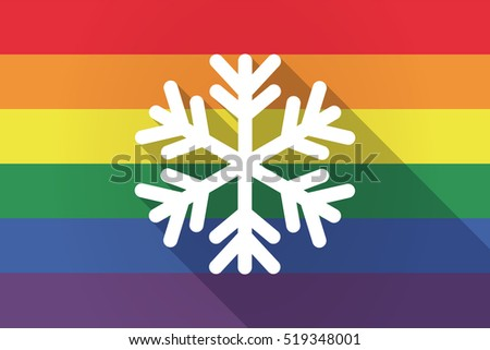 Illustration of a long shadow lgbt gay pride flag with a snow flake