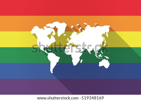 Illustration of a long shadow lgbt gay pride flag with a world map