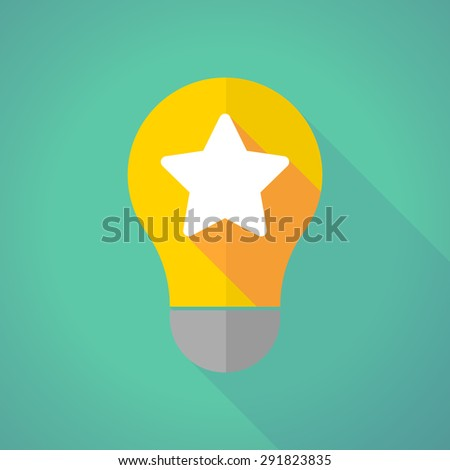 Illustration of a long shadow light bulb with a star - stock vector
