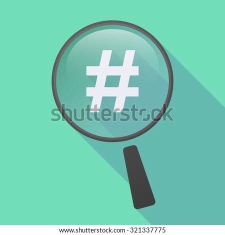 Illustration of a long shadow magnifier icon with a hash tag - stock vector