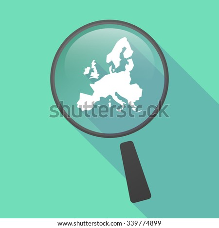 Illustration of a long shadow magnifier vector icon with  a map of Europe  - stock vector