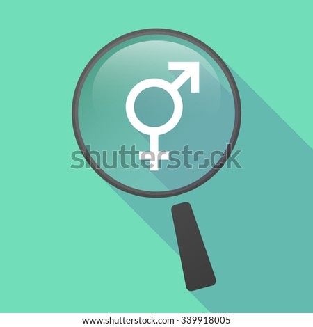Illustration of a long shadow magnifier vector icon with a transgender symbol - stock vector