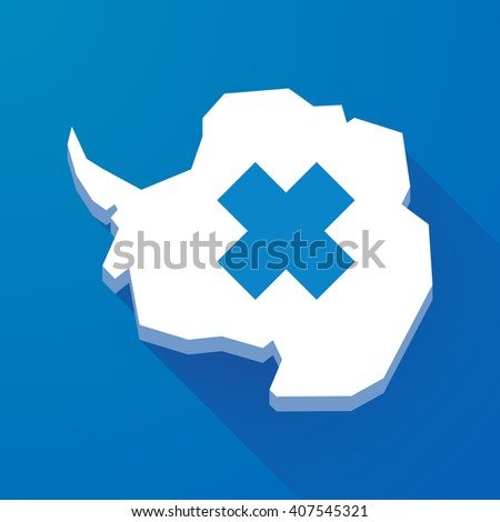 Illustration of a long shadow map of Antarctica continent with an irritating substance sign - stock vector