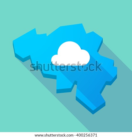 Illustration of a long shadow map of Belgium with a cloud