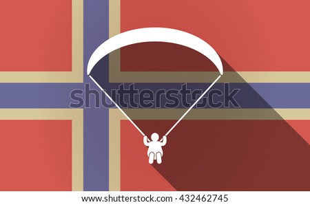 Illustration of a long shadow Norway flag with a paraglider - stock vector