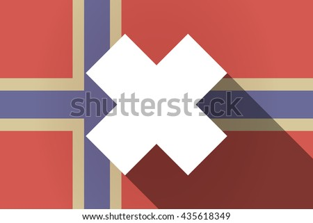 Illustration of a long shadow Norway flag with an irritating substance sign - stock vector