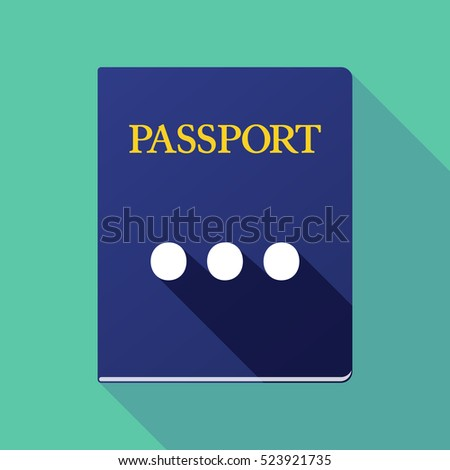 Illustration of a long shadow passport icon with  an ellipsis orthographic sign