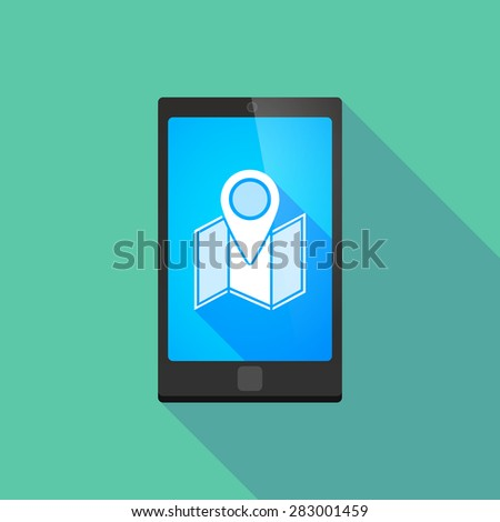 Illustration of a long shadow phone icon with a map - stock vector
