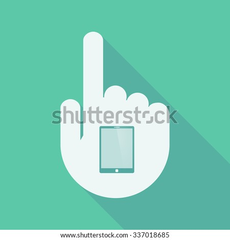Illustration of a long shadow pointing finger hand with a tablet computer - stock vector