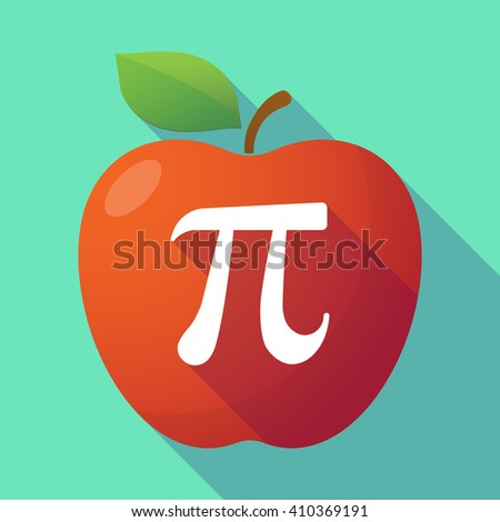 Illustration of a long shadow red apple with the number pi symbol - stock vector