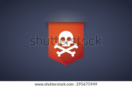 Illustration of a long shadow ribbon icon with a skull - stock vector