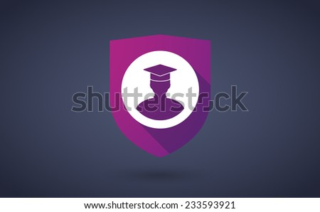 Illustration of a long shadow shield icon with a student  - stock vector