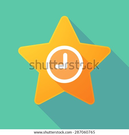 Illustration of a long shadow star with a clock - stock vector