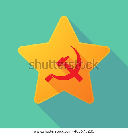 Illustration of a long shadow star with  the communist symbol - stock vector