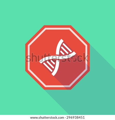 Illustration of a long shadow stop signal with a DNA sign - stock vector