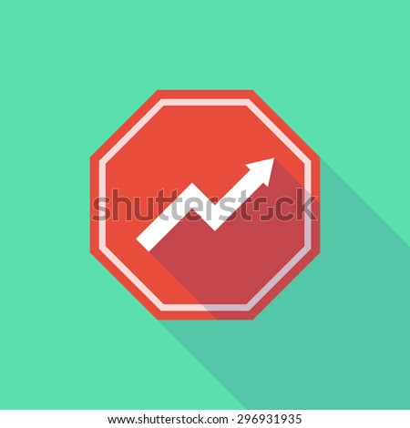 Illustration of a long shadow stop signal with a graph - stock vector