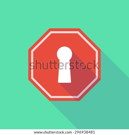 Illustration of a long shadow stop signal with a key hole - stock vector