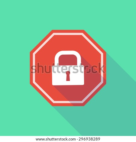 Illustration of a long shadow stop signal with a lock pad - stock vector