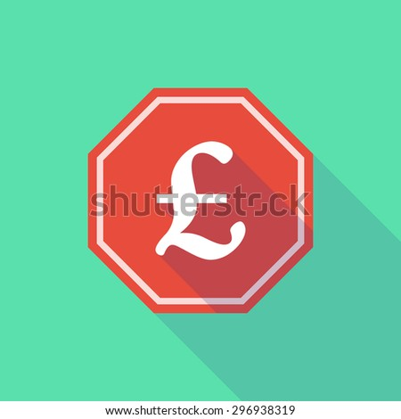 Illustration of a long shadow stop signal with a pound sign - stock vector
