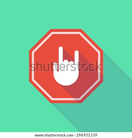 Illustration of a long shadow stop signal with a rocking hand - stock vector