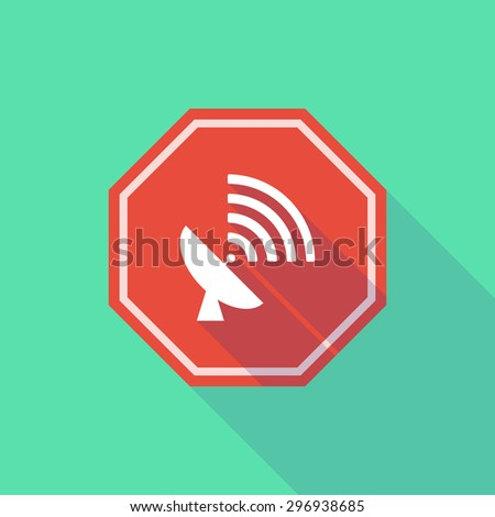 Illustration of a long shadow stop signal with a satellite dish - stock vector