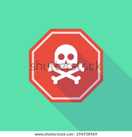 Illustration of a long shadow stop signal with a skull - stock vector