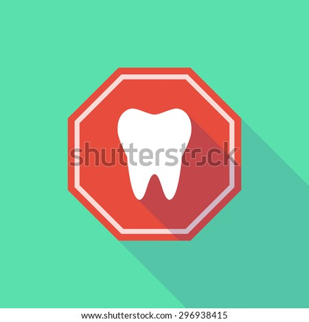 Illustration of a long shadow stop signal with a tooth - stock vector