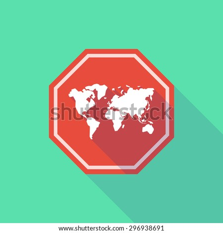 Illustration of a long shadow stop signal with a world map - stock vector