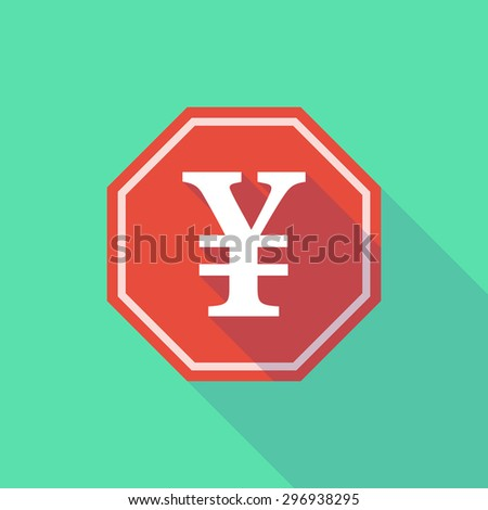 Illustration of a long shadow stop signal with a yen sign - stock vector