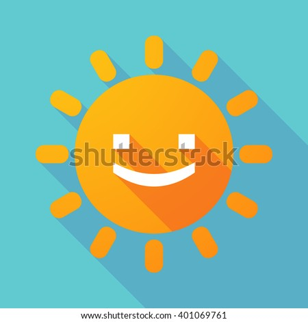 Illustration of a long shadow sun with a smile text face - stock vector