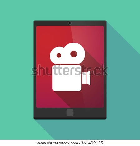 Illustration of a long shadow tablet pc icon with a film camera - stock vector