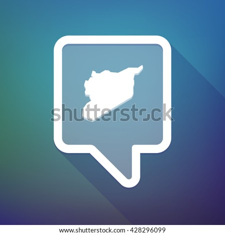 Illustration of a long shadow tooltip icon on a gradient background  with  the map of Syria