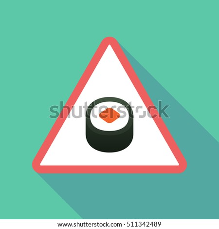 Illustration of a long shadow  triangular warning sign icon with a piece of sushi maki