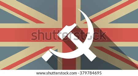 Illustration of a long shadow UK flag icon with  the communist symbol - stock vector